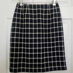 Talbots Petite Wool Pencil Skirt Black and White